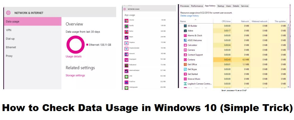 how to check data usage in windows 10