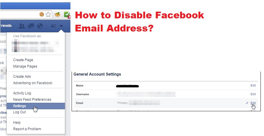 how to disable facebook email address