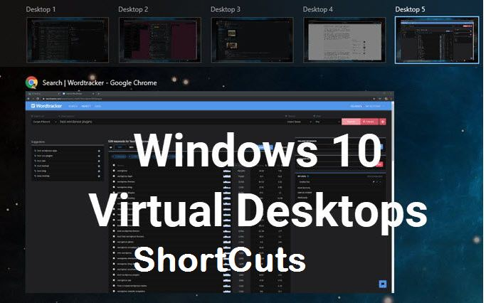 Windows 10 virtual desktops shortcuts