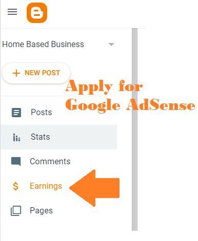 Apply for Google AdSense for blogspot