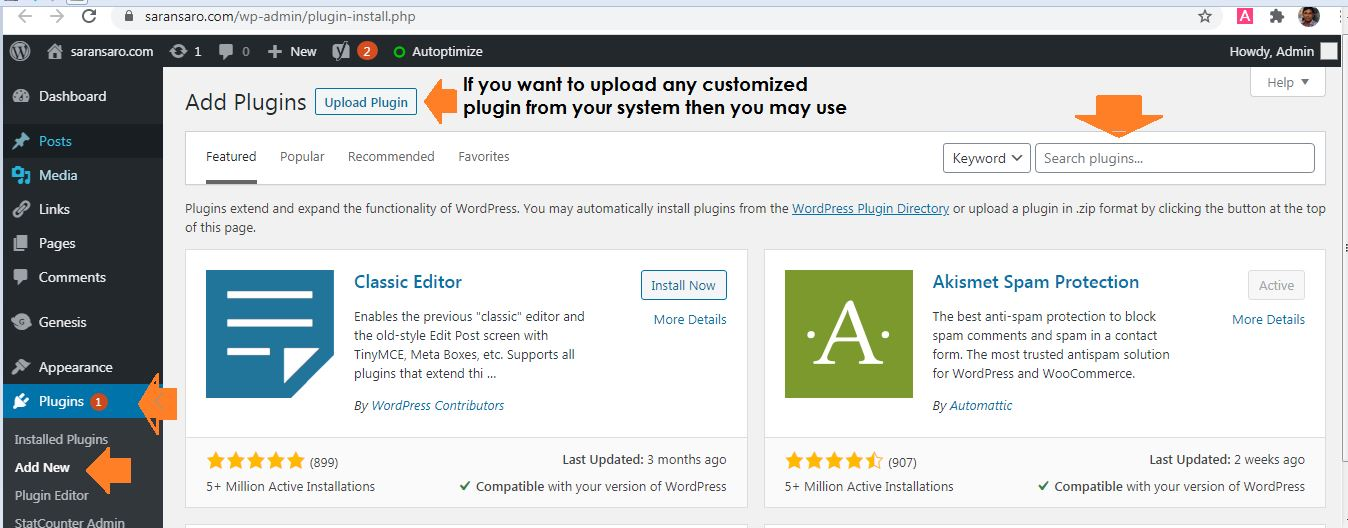 How to install plugin in a new blog