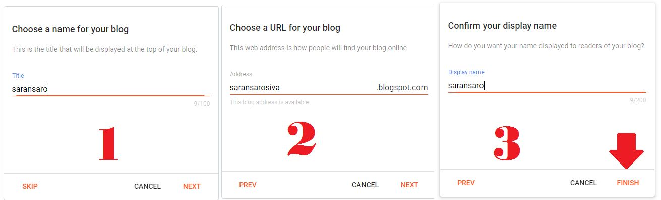 choose a name for your blog in blogspot