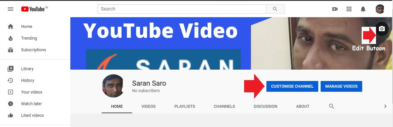 how to change banner art in YouTube