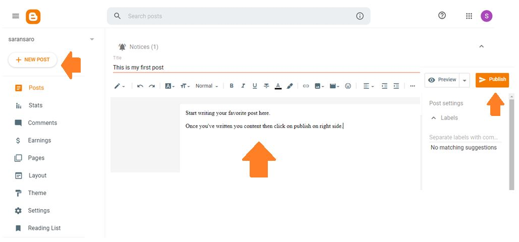 how to write a post in blogspot