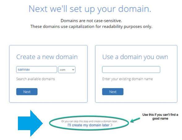 Create a free new domain