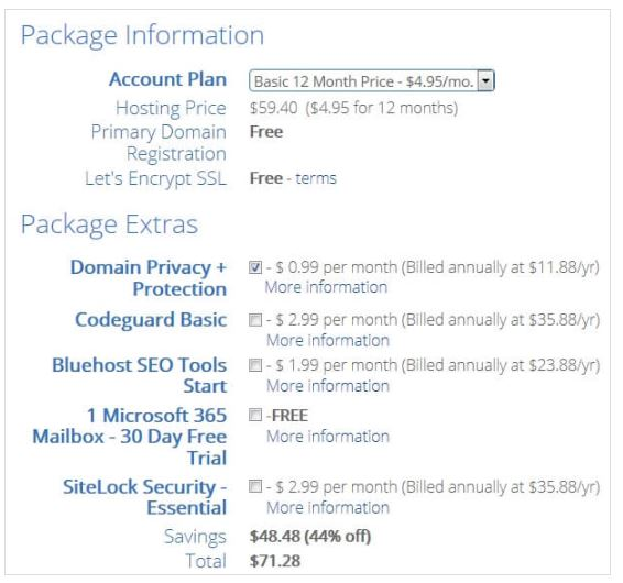 bluehost basic plan for 12 months