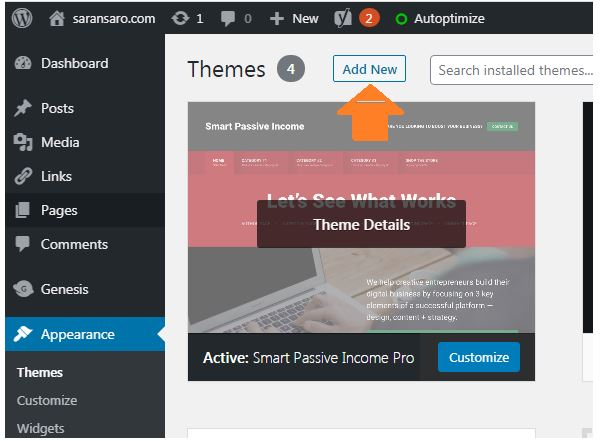 Install new theme to start a site