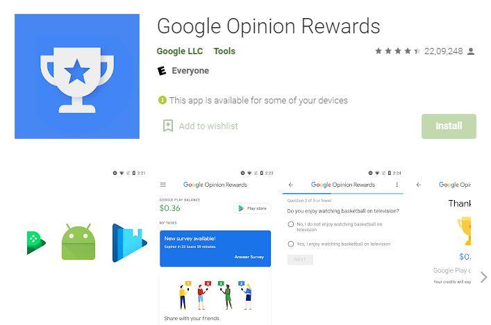 Google Opinion Rewards Mobile Apps
