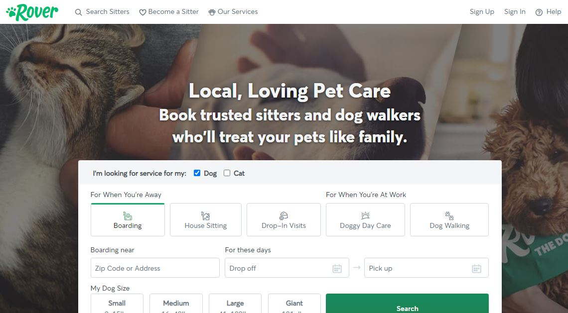 Rover pet sitting apps