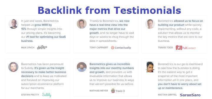 Get backlinks from Testimonials