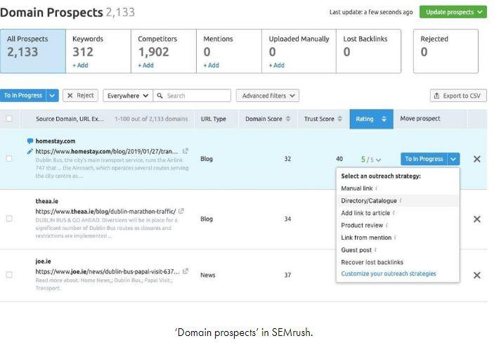 SEMrush domain prospects