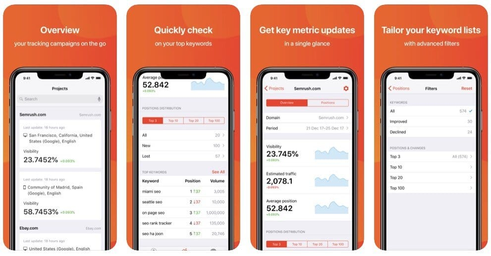 SEMrush's mobile app for rank tracking