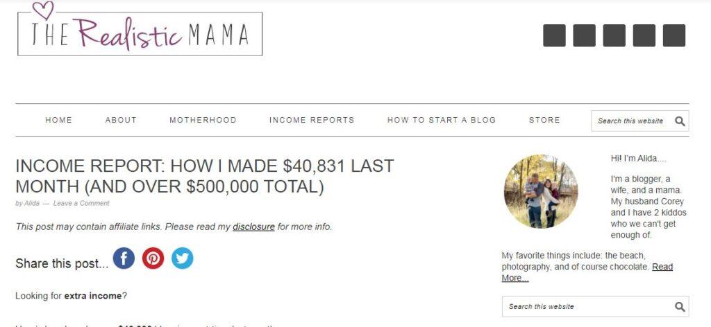 mom blog earnings proof