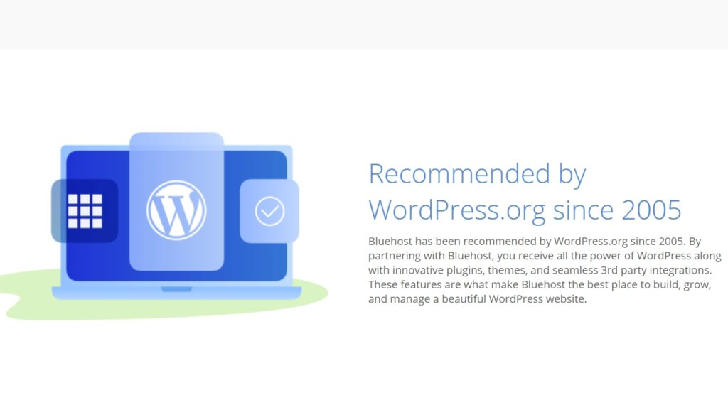 bluehost hosting recommended by WordPress