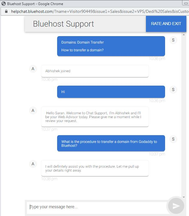 bluehost live chat