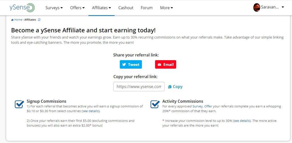 ysense affiliate earnings
